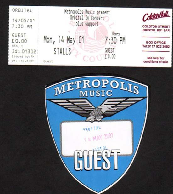 ORBITAL - BRISTOL COLSTON HALL - Ticket concert / party