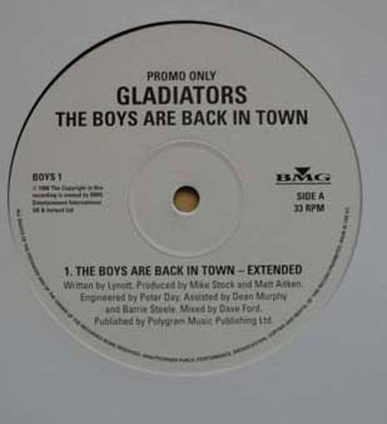 GLADIATORS - BOYS ARE BACK IN TOWN - 12 inch x 1