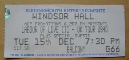 UB40 - BOURNMOUTH WINDSOR HALL