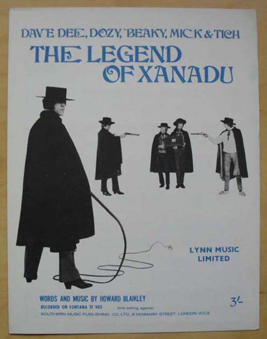 DAVE DEE DOZY BEAKY MICK AND TICH - THE LEGEND OF XANADU - Sheet