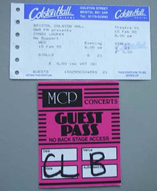 CYNDI LAUPER BRISTOL COLSTON HALL TICKET 15 FEB 1995