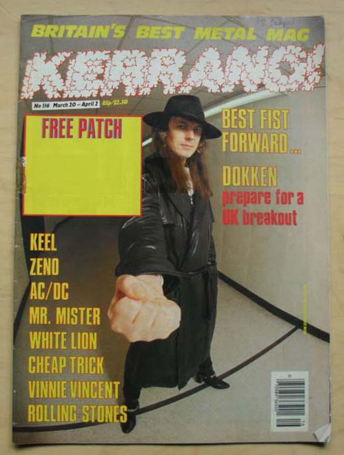 DOKKEN - Kerrang! (all Magazines Are Complete And Pristine With No Tears, Cuts, Marks, Writing, Creases, Etc