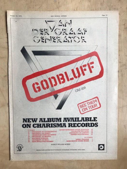 VAN DER GRAAF GENERATOR - GODBLUFF - Poster / Affiche