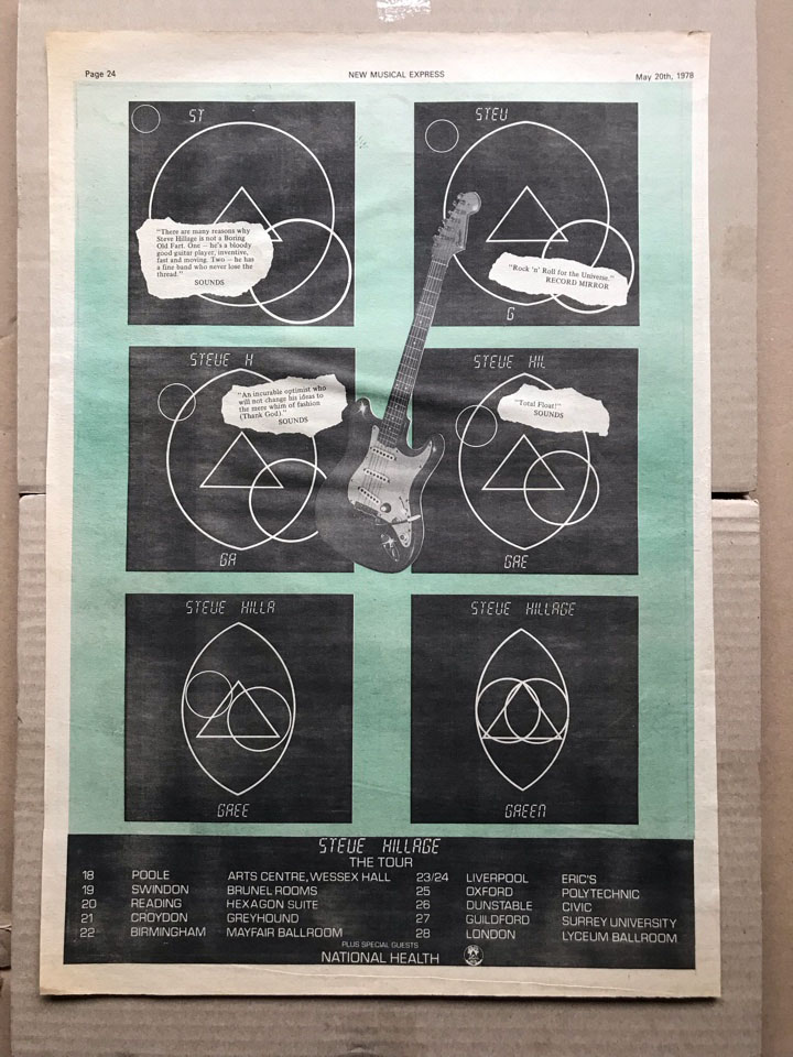 STEVE HILLAGE - GREEN TOUR - Poster / Display