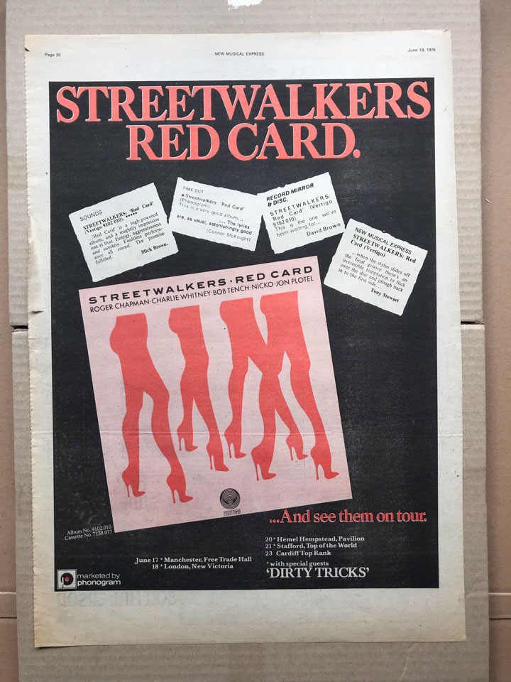 STREETWALKERS - RED CARD - Poster / Display