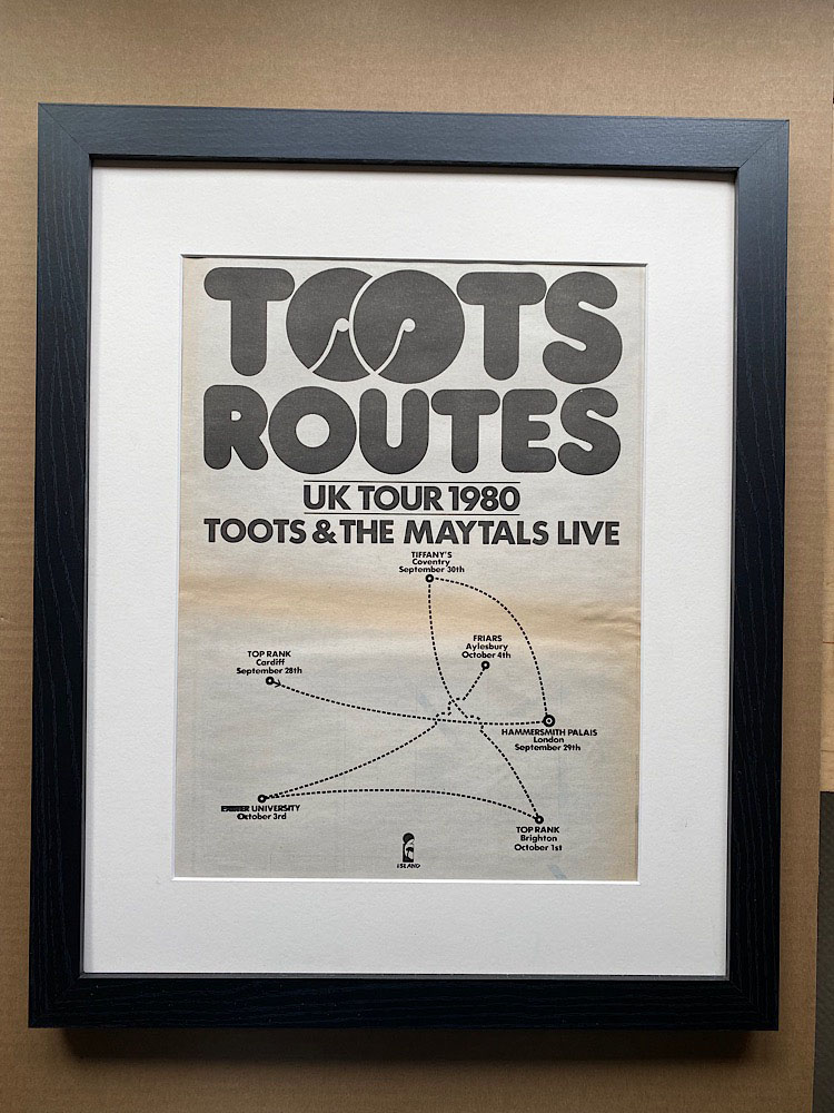 TOOTS & THE MAYTALS - UK TOUR 1980 (FRAMED) - Poster / Display