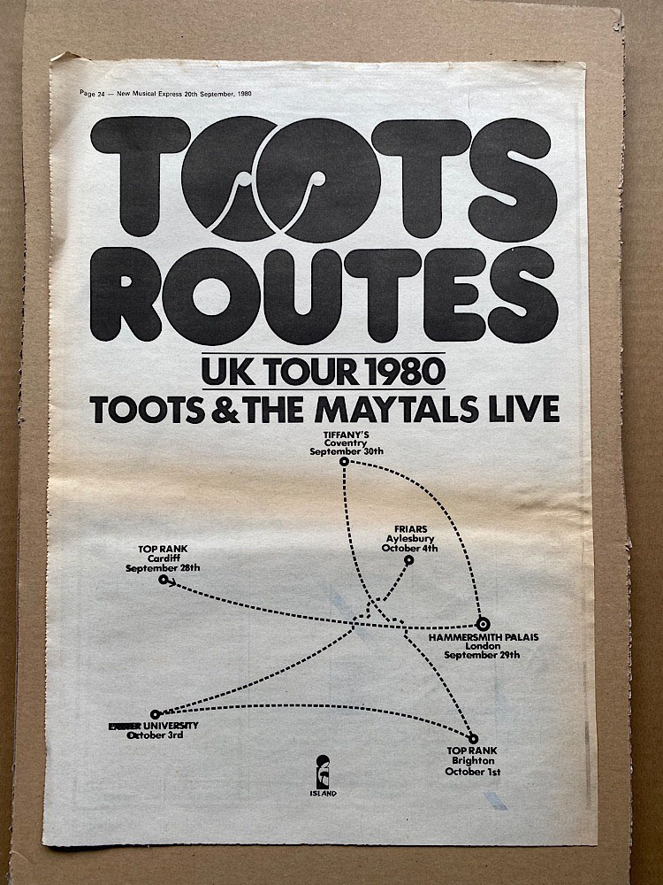 TOOTS & THE MAYTALS - UK TOUR 1980 - Poster / Affiche