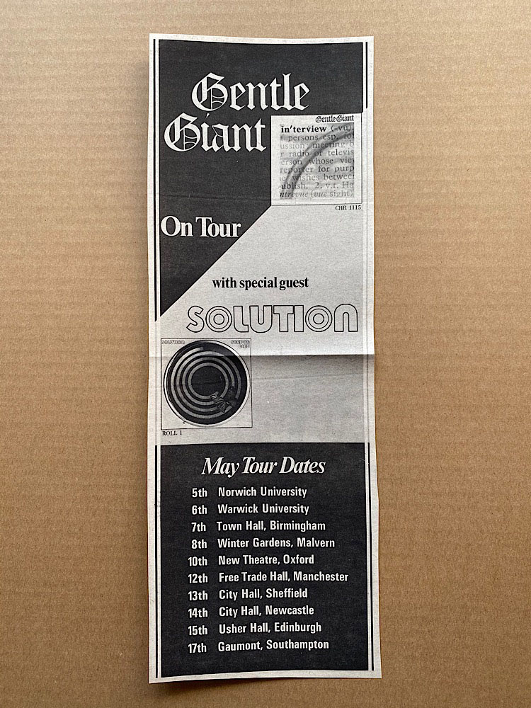 GENTLE GIANT - ON TOUR WITH SOLUTION - Others