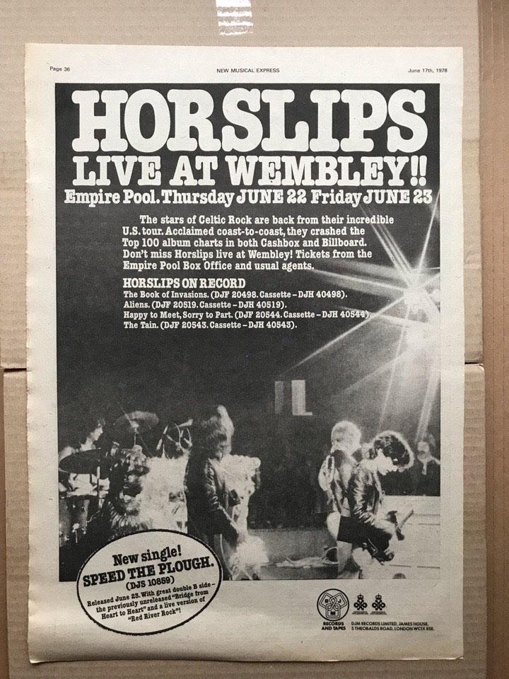 HORSLIPS - LIVE AT WEMBLEY - Poster / Affiche