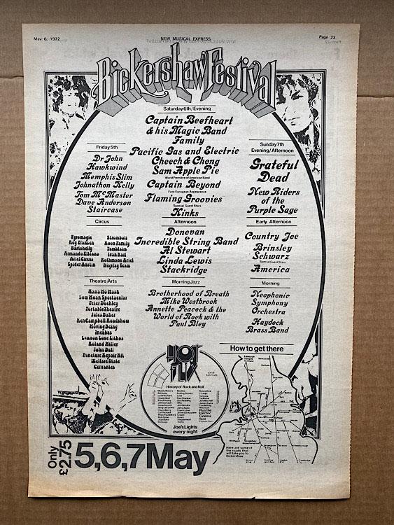 BICKERSHAW FESTIVAL - HAWKWIND/GRATEFUL DEAD/DONOVAN/FAMILY - Poster / Display
