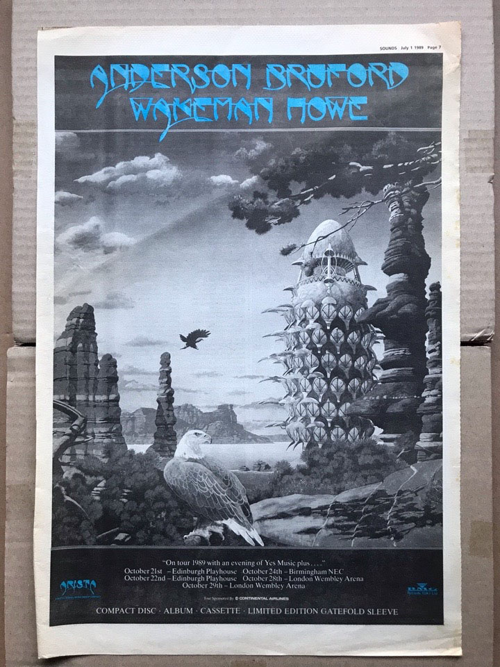 ANDERSON BRUFFORD WAKEMAN HOWE - ON TOUR 1989 - Poster / Display