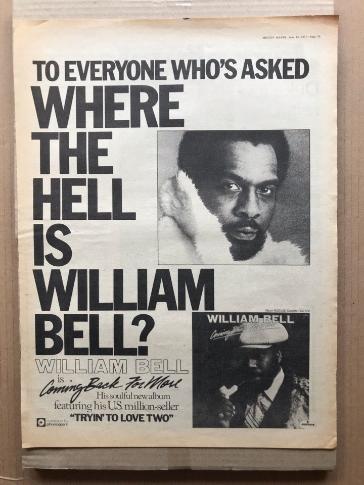WILLIAM BELL - COMING BACK FOR MORE - Poster / Affiche