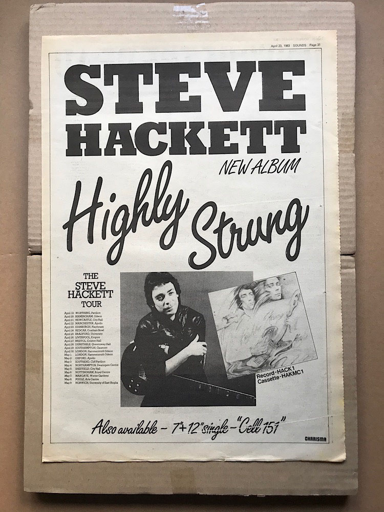 STEVE HACKETT - HIGHLY STRUNG (A) - Poster / Display
