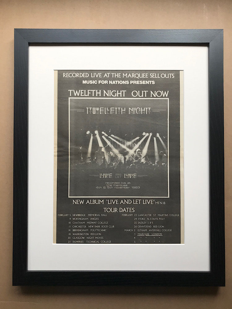 TWELFTH NIGHT - LIVE AND LET LIVE (FRAMED) - Poster / Display