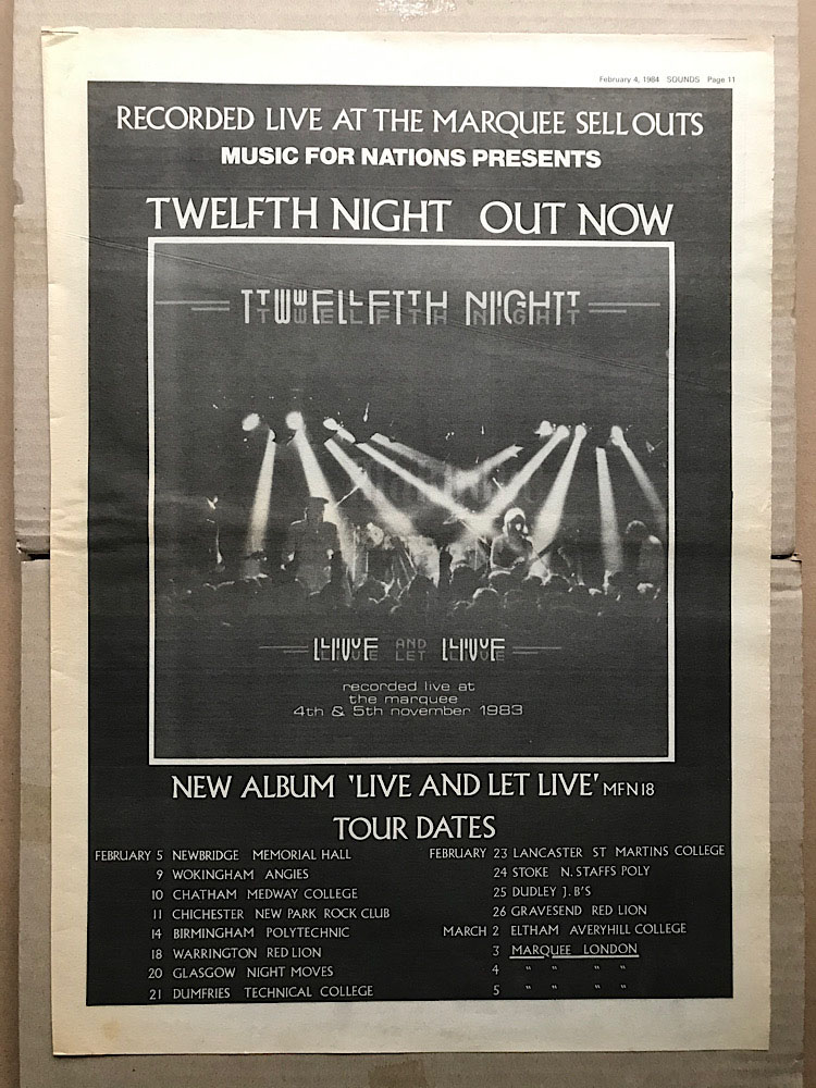 TWELFTH NIGHT - LIVE AND LET LIVE - Poster / Display