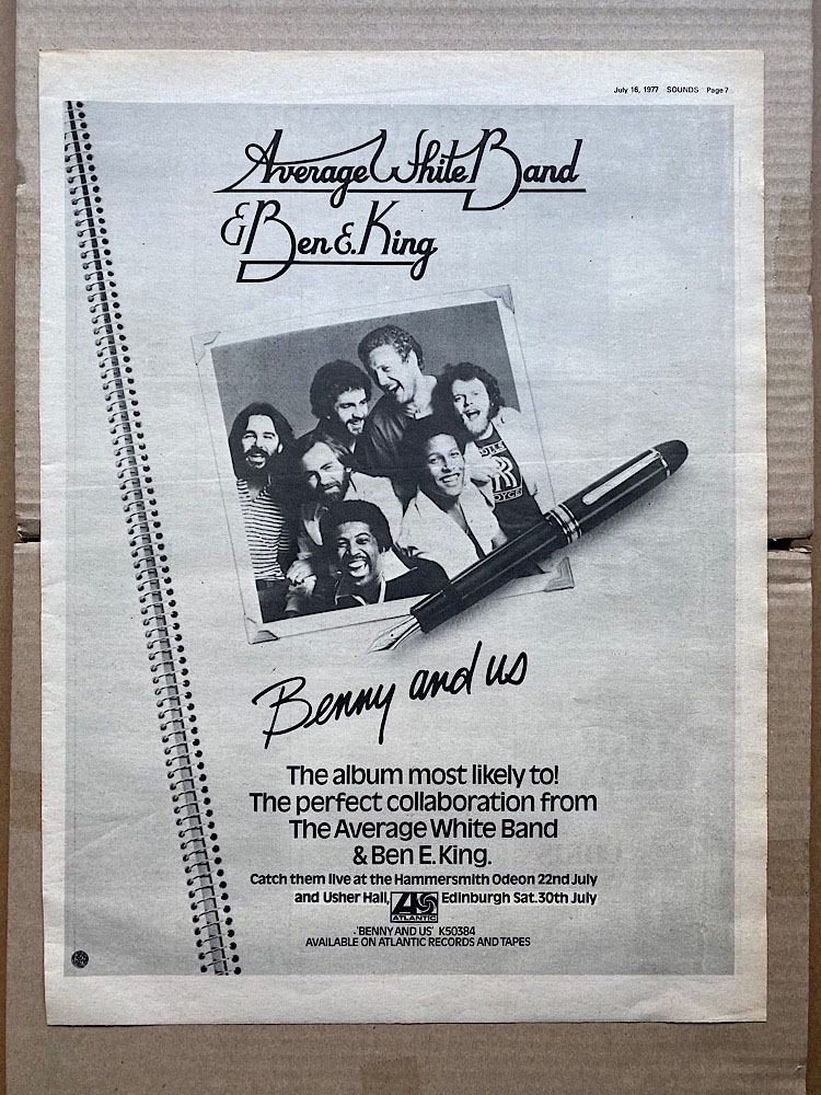 AVERAGE WHITE BAND + BEN E KING - BENNY AND US - Poster / Display