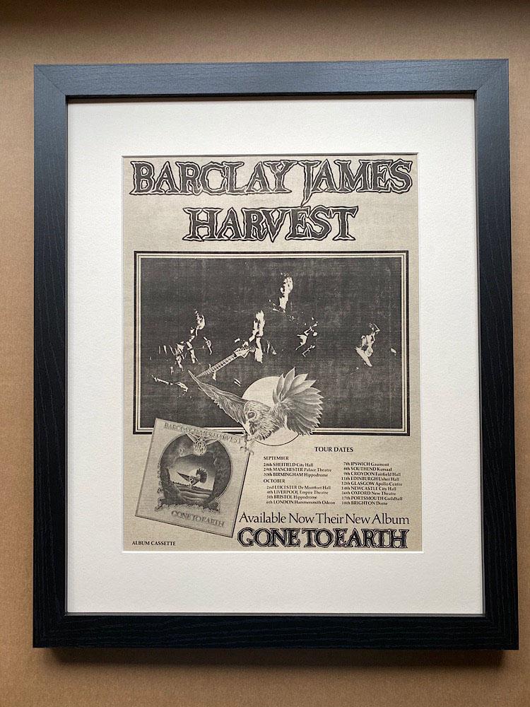 BARCLAY JAMES HARVEST - GONE TO EARTH (FRAMED) - Poster / Display