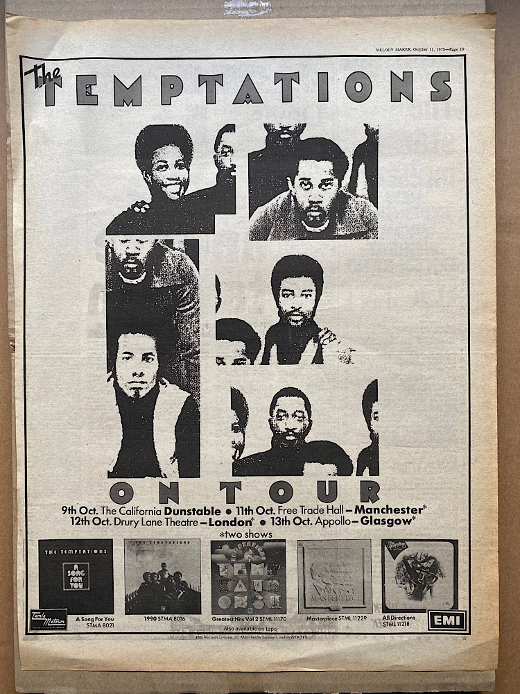 TEMPTATIONS - ON TOUR 1975 - Poster / Display