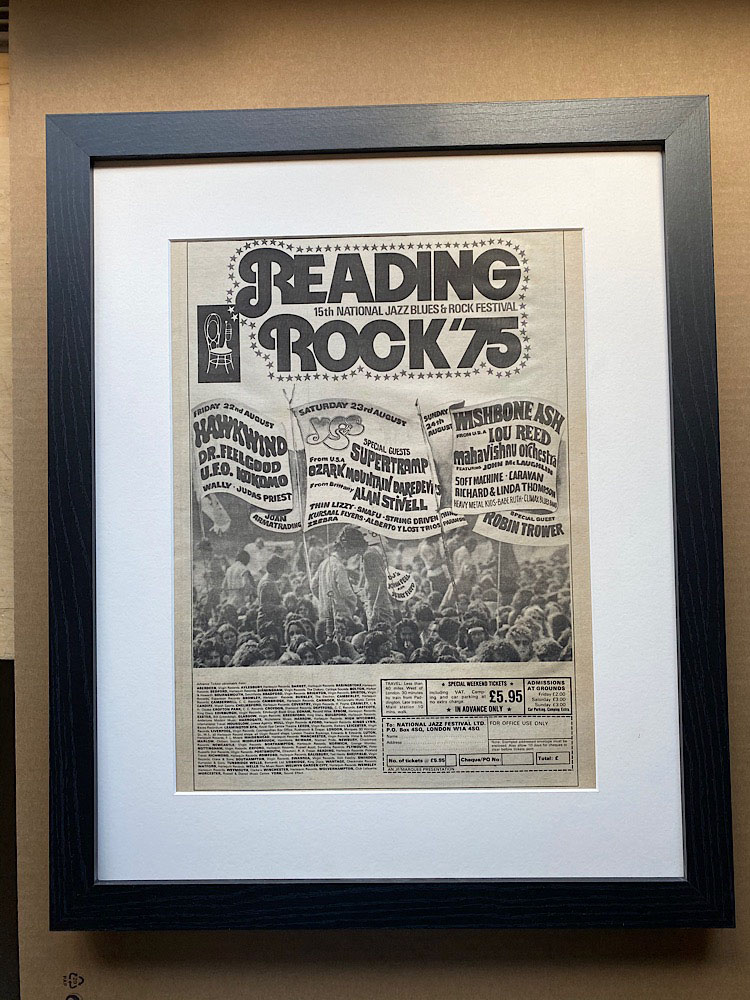 READING ROCK 1975 - YES/THIN LIZZY/SUPERTRAMP/JUDAS PRIEST/UFO (FRAMED) - Poster / Display