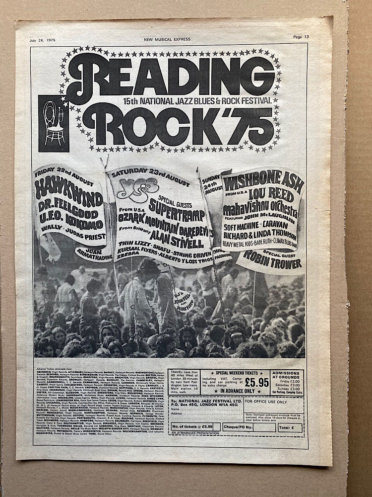 READING ROCK 1975 - YES/THIN LIZZY/SUPERTRAMP/JUDAS PRIEST/UFO - Poster / Display