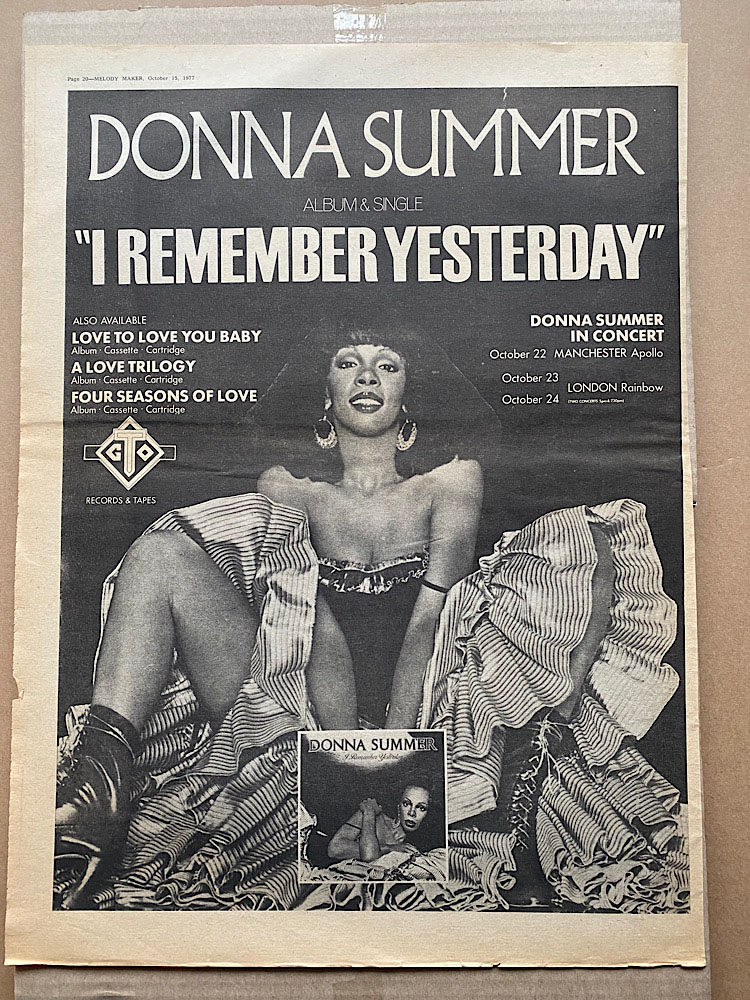 DONNA SUMMER - I REMEMBER YESTERDAY - Poster / Display