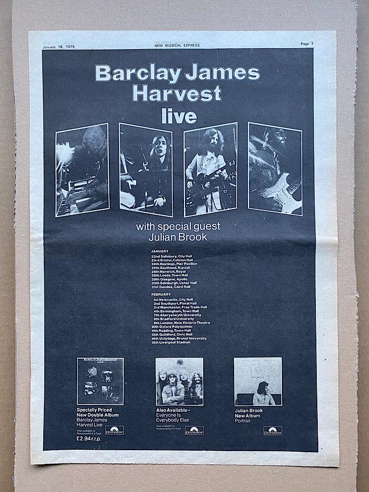 BARCLAY JAMES HARVEST - LIVE - Poster / Affiche