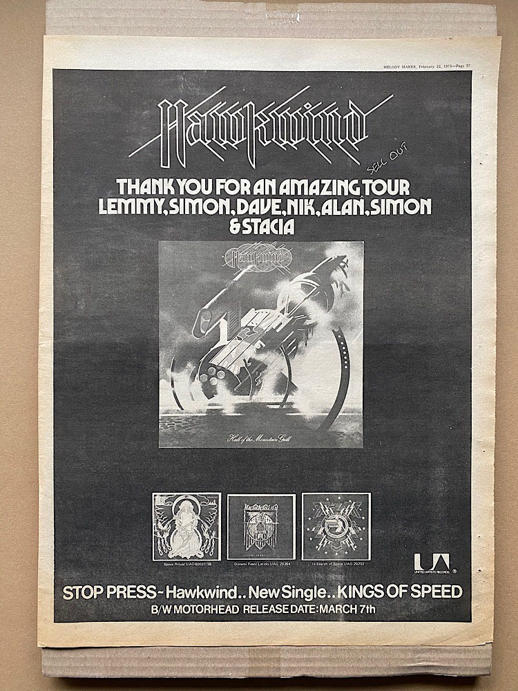 HAWKWIND - HALL OF THE MOUNTAIN GRILL - Poster / Affiche