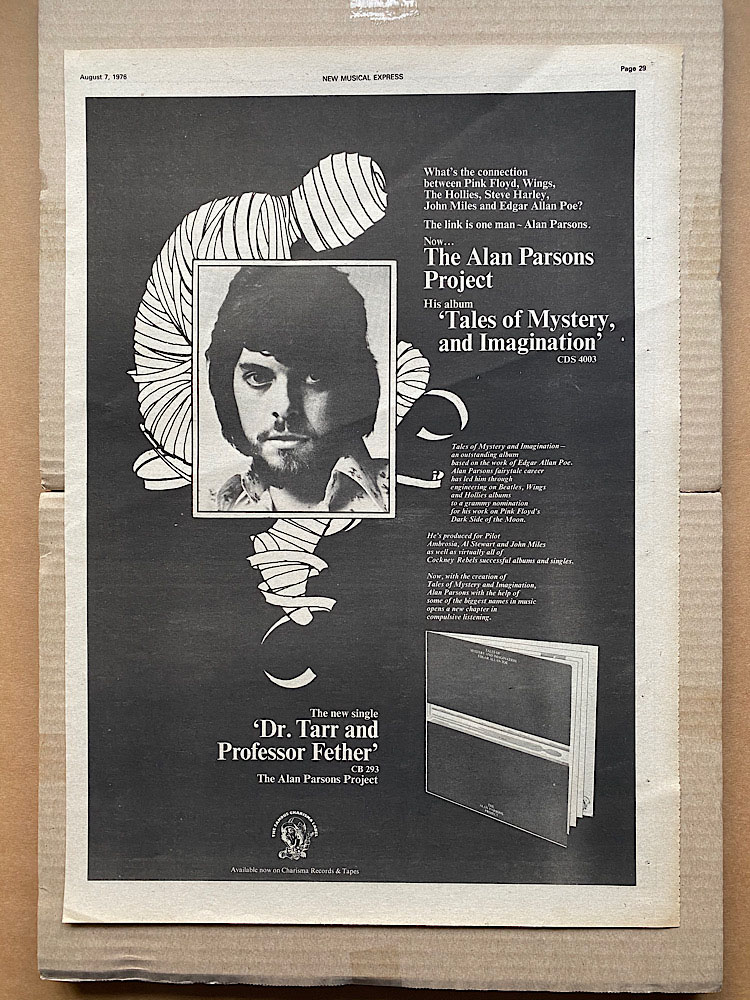 ALAN PARSONS PROJECT - TALES OF MYSTERY AND IMAGINATION - Poster / Display