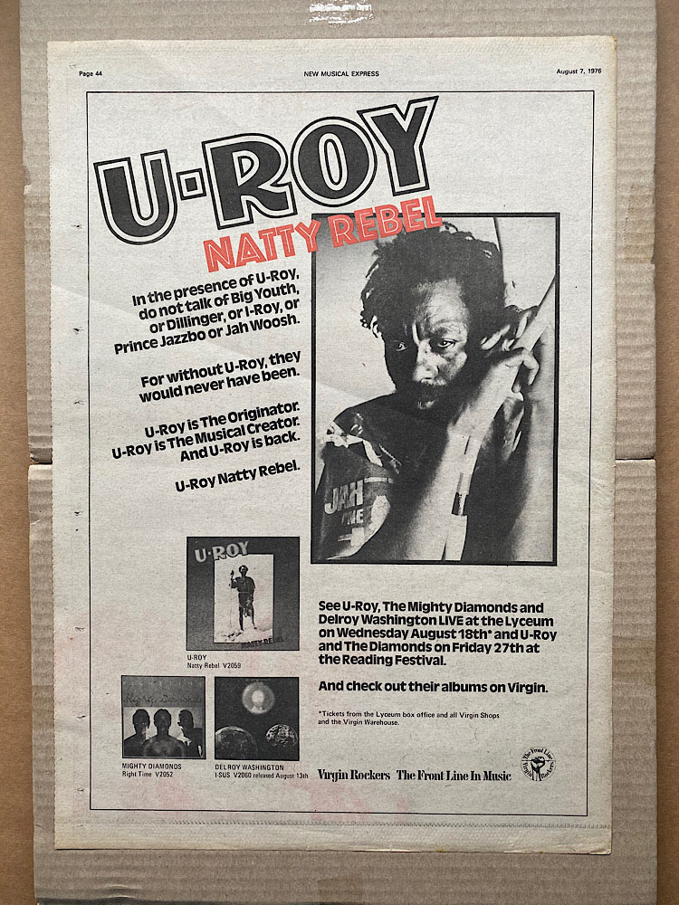 U-ROY - NATTY REBEL - Poster / Display