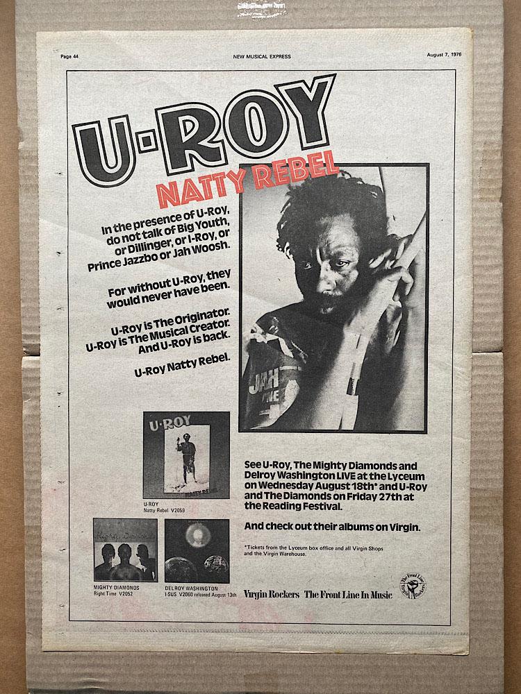 U-ROY - NATTY REBEL - Poster / Affiche