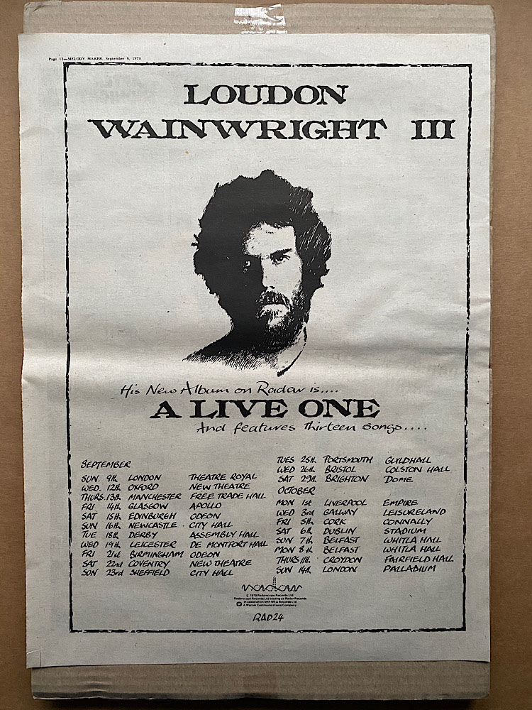 LOUDON WAINWRIGHT III - A LIVE ONE - Poster / Display