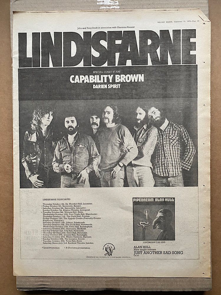 LINDISFARNE - 1973 TOUR - Poster / Affiche