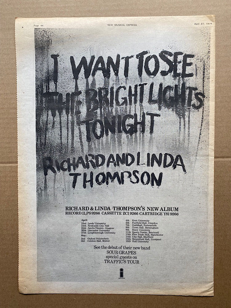 RICHARD AND LINDA THOMPSON - I WANT TO SEE THE BRIGHT LIGHTS TONIGHT - Poster / Affiche