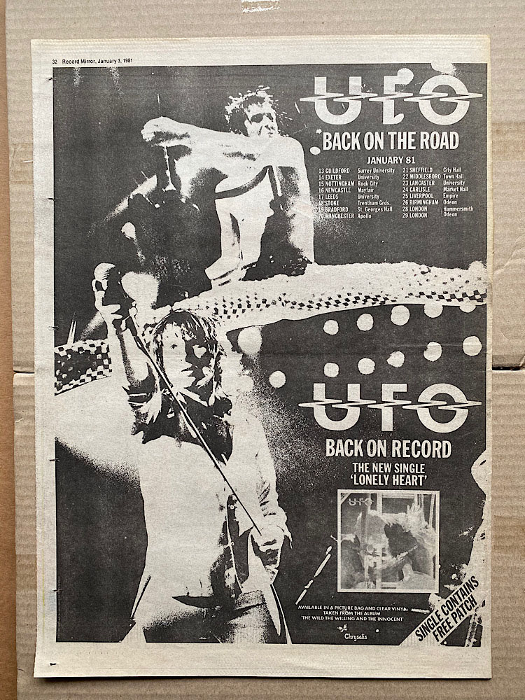 UFO - BACK ON THE ROAD JANUARY 1981 - Poster / Affiche