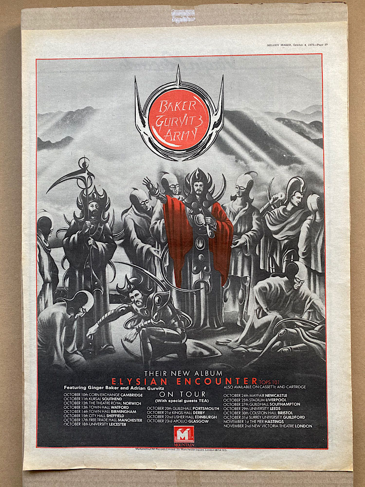 BAKER GURVITZ ARMY - ELYSIAN ENCOUNTER - Poster / Display