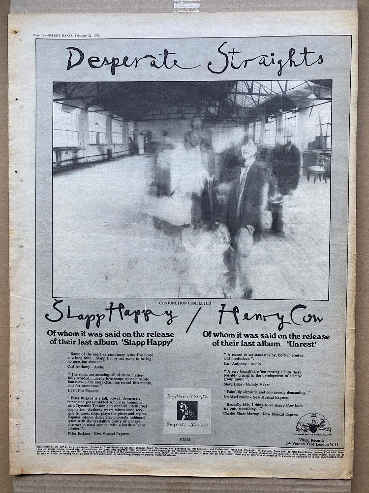 SLAPP HAPPY/HENRY COW - DESPERATE STRAIGHTS - Poster / Display