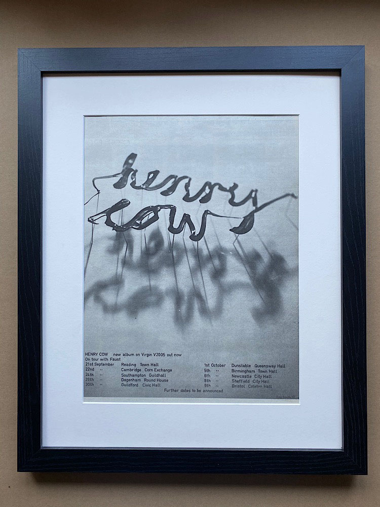 HENRY COW - NEW ALBUM/ON TOUR WITH FAUST (FRAMED) - Poster / Display