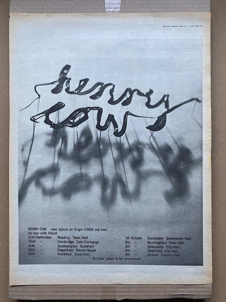 HENRY COW - NEW ALBUM/ON TOUR WITH FAUST - Poster / Display
