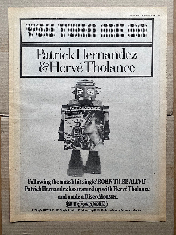 PATRICK HERNANDEZ + HERVE THOLANCE - YOU TURN ME ON - Poster / Affiche