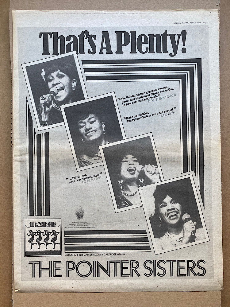 POINTER SISTERS - THAT'S A PLENTY - Poster / Affiche