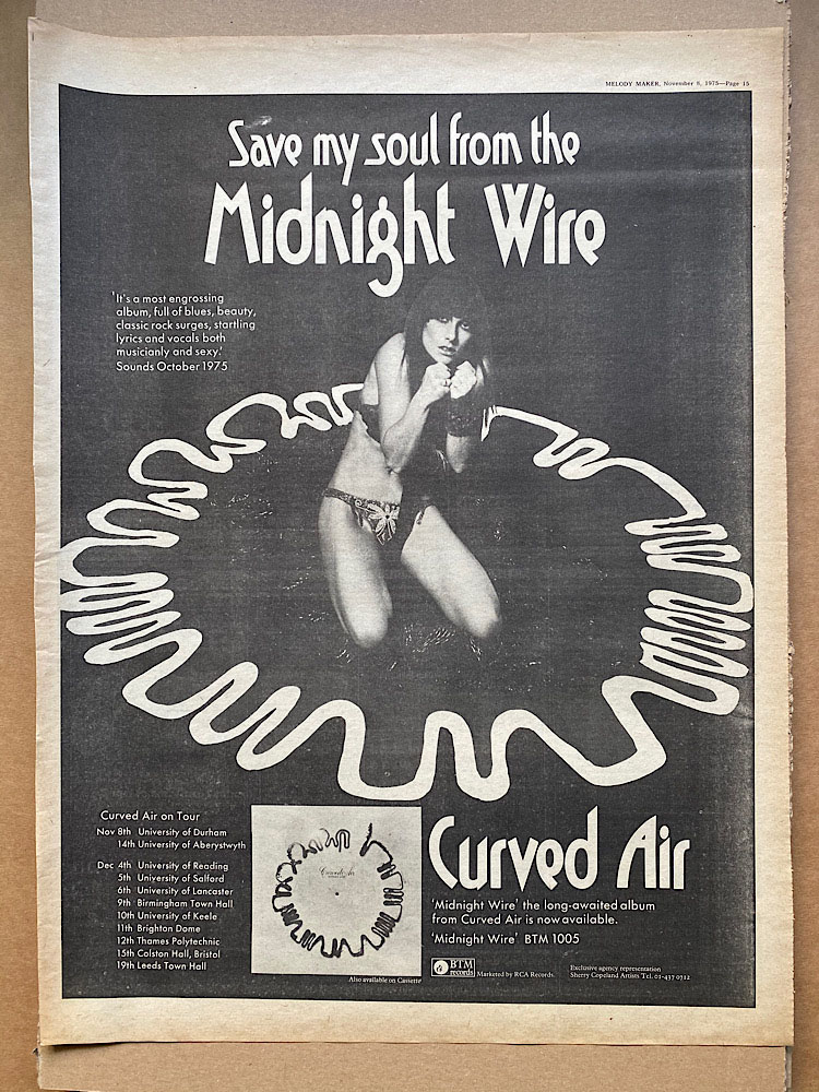 CURVED AIR - MIDNIGHT WIRE (A) - Poster / Affiche