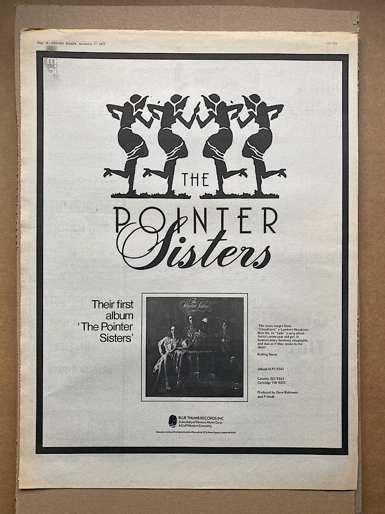 POINTER SISTERS - FIRST ALBUM - Poster / Affiche