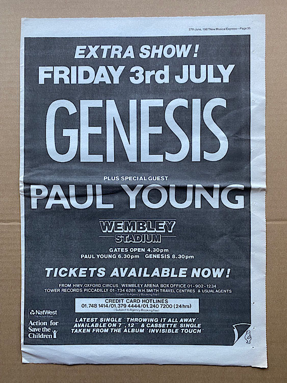 GENESIS - WEMBLEY STADIUM 1987 - Poster / Display