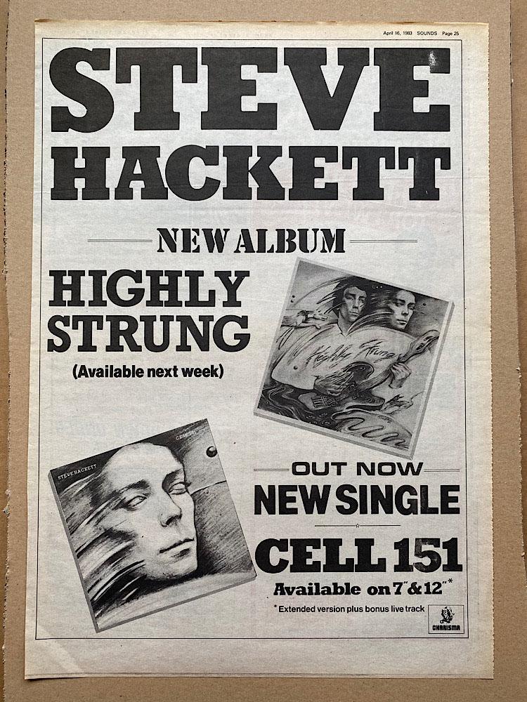 STEVE HACKETT - HIGHLY STRUNG (B) - Poster / Display