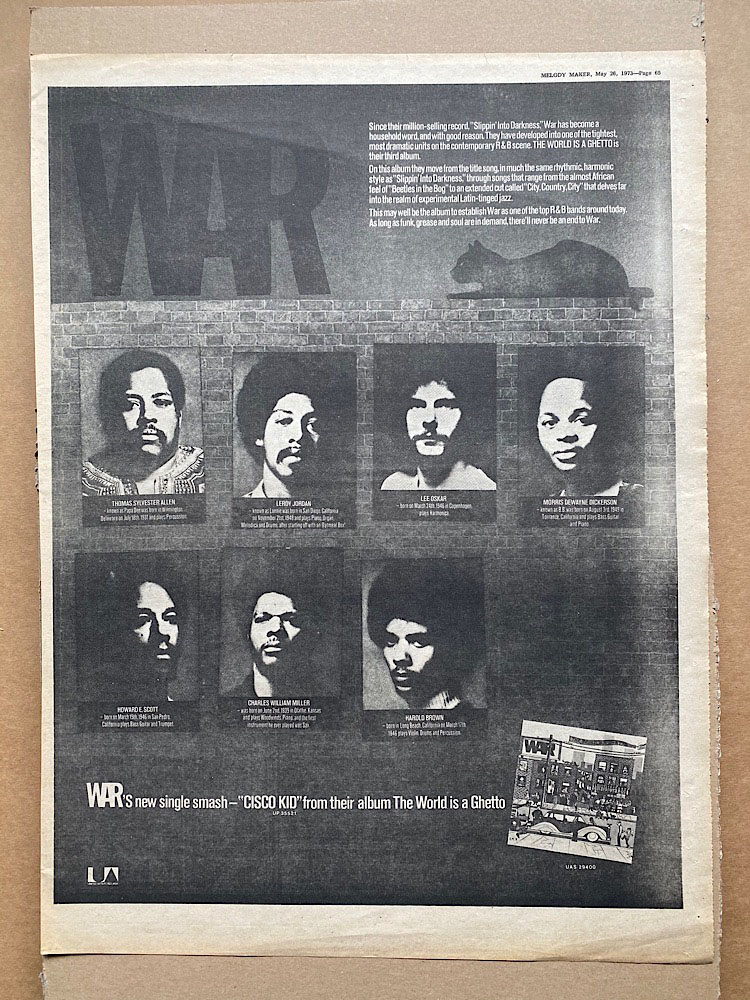 WAR - THE WORLD IS A GHETTO - Poster / Display