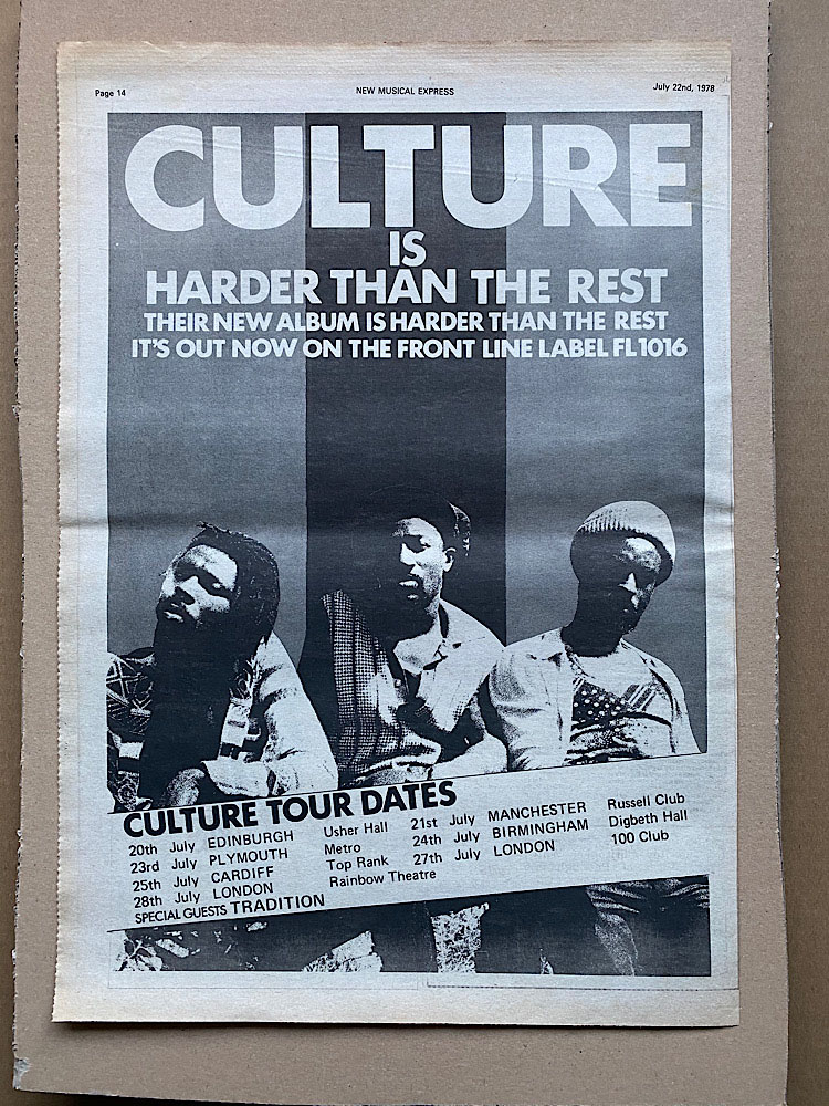 CULTURE - HARDER THAN THE REST (B) - Poster / Affiche