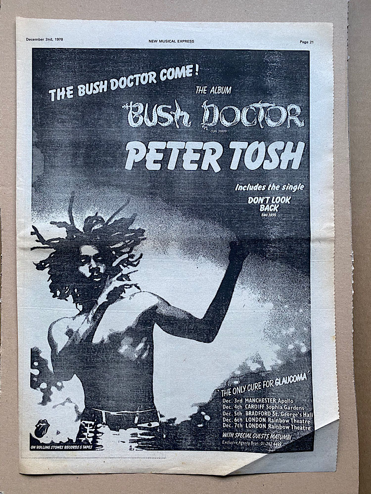 PETER TOSH - BUSH DOCTOR (B) - Poster / Display