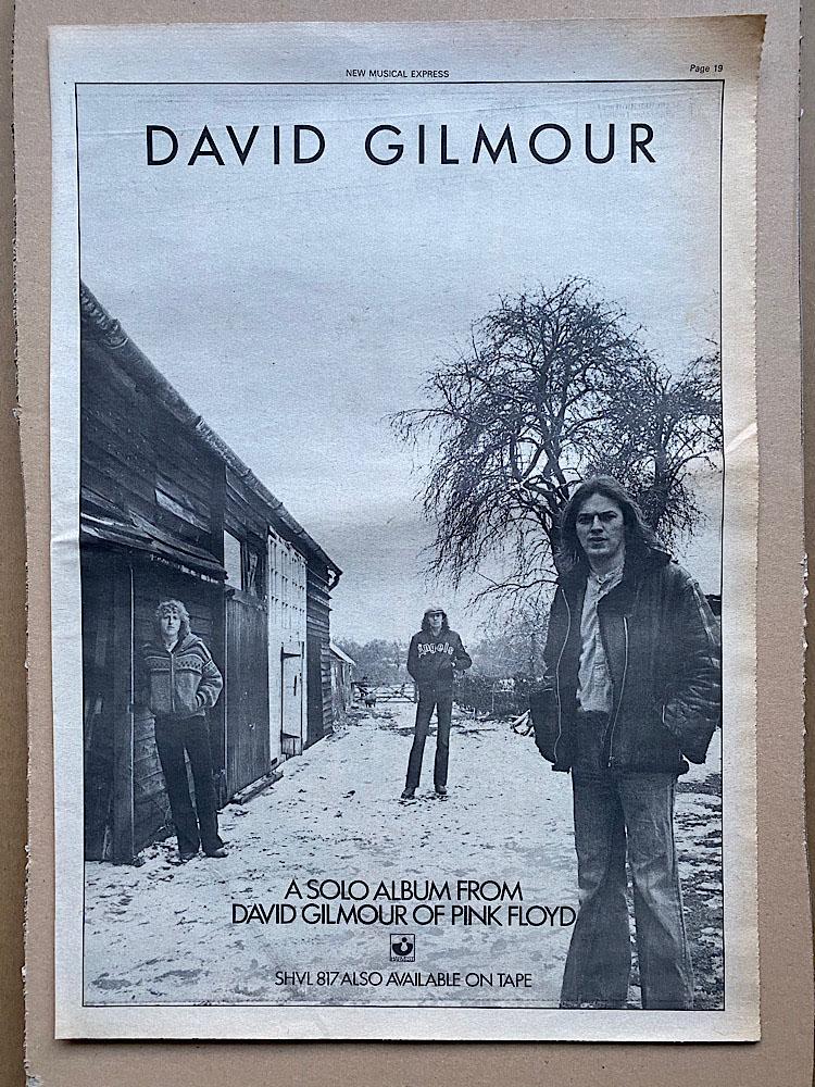 DAVID GILMOUR - DEBUT SOLO ALBUM - Poster / Affiche
