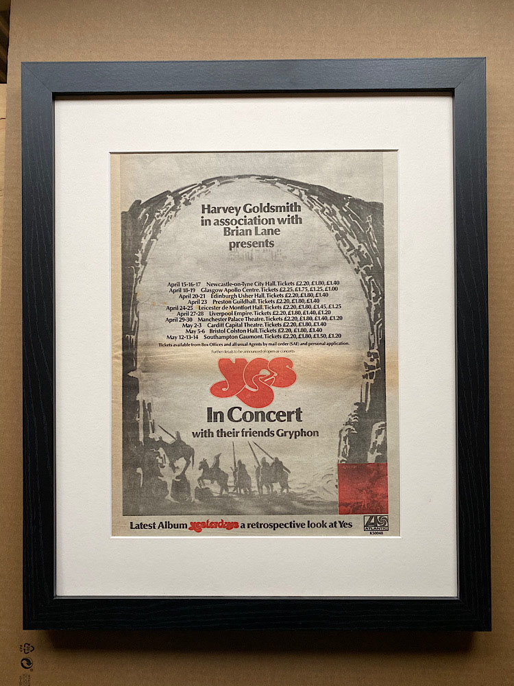 YES - YESTERDAYS 1975 TOUR (B) (FRAMED) - Poster / Display