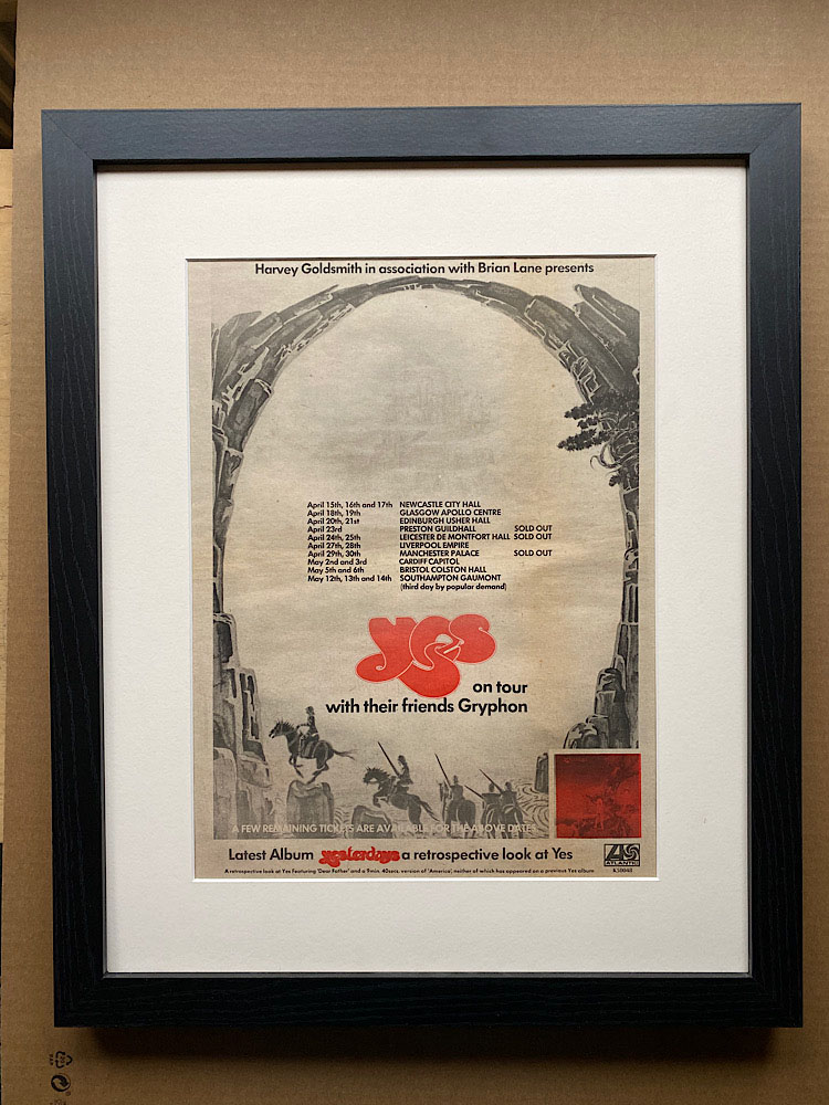 YES - YESTERDAYS 1975 TOUR (A) (FRAMED) - Poster / Display